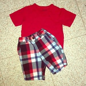 Toddler boy red, white, and blue outfit 3t